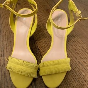 Yellow Fringe Ankle Strap Sandals